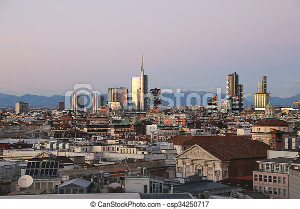 View of Milans  business district from Duomo. v.2. - csp34250717