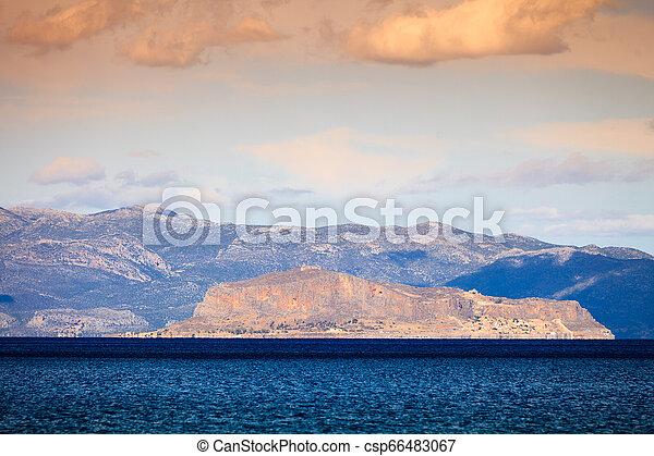 View of Monemvasia island in Greece - csp66483067