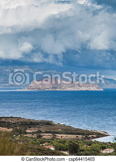 View of Monemvasia island in Greece - csp64415403