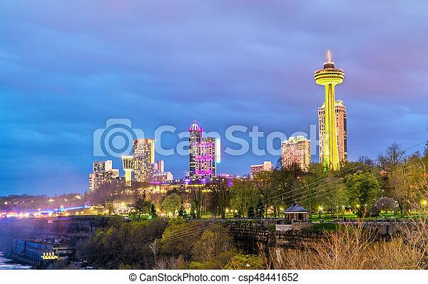 View Of Niagara Falls City In Ontario Canada