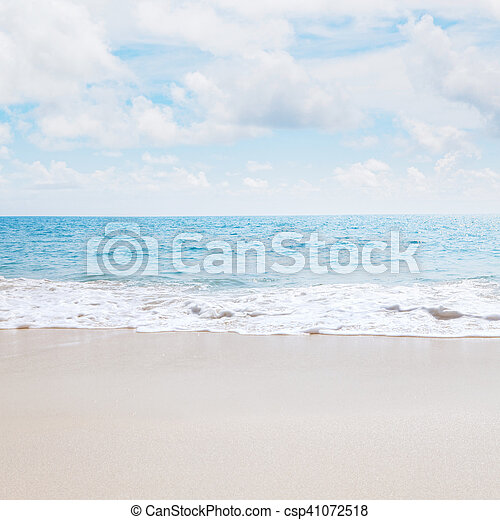 View of nice tropical beach with wh - csp41072518