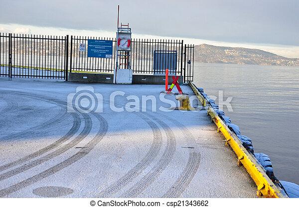 View of port with mooring bollard - csp21343662