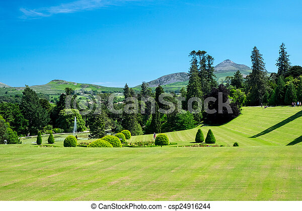 View of powerscourt gardens. View from the main house stock photo ...
