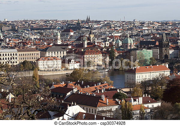 View of Prague from Prague Castle in autumn - csp30374928