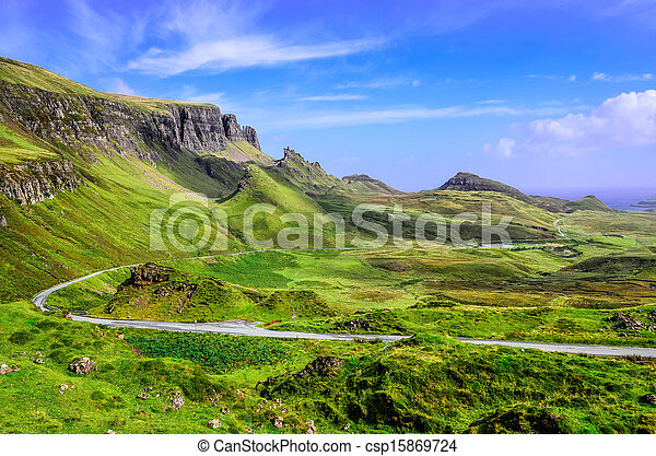 View of Quiraing mountains and the road, Scottish highlands - csp15869724
