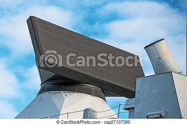 View of radar on naval ship. - csp27107385