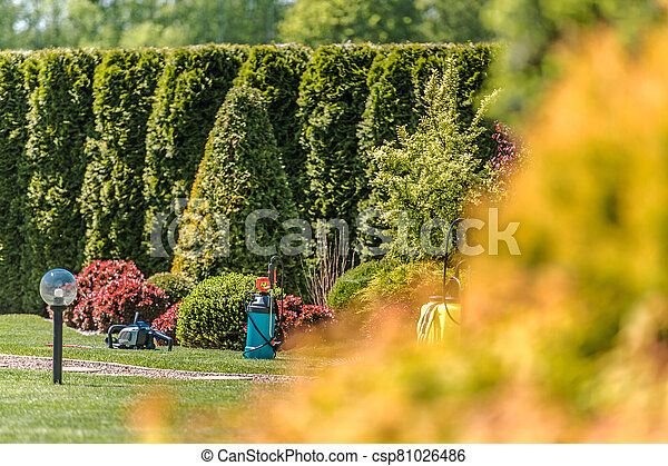 View Of Residential Backyard Landscape With Groundkeeping Equipment. - csp81026486