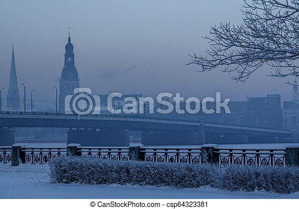 View of Riga in winter season. - csp64323381
