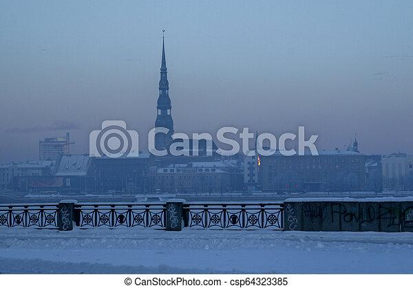 View of Riga in winter season. - csp64323385