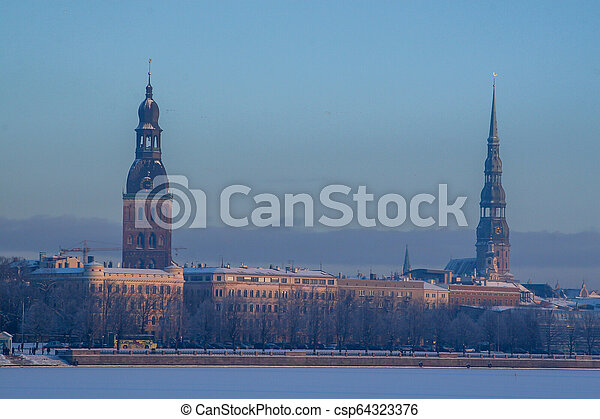 View of Riga in winter time. - csp64323376