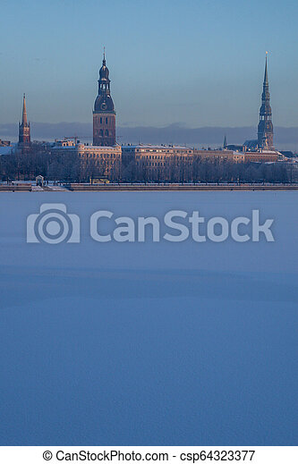 View of Riga in winter time. - csp64323377