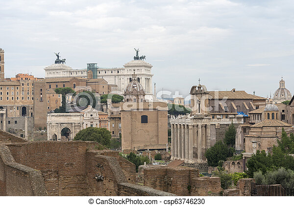 View of Rome the building of the Vittoriano. - csp63746230