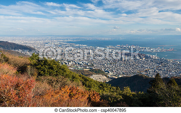 """View of several Japanese cities in the Kansai region from Mt. Maya. The view is designated a """"Ten Million Dollar Night View."""" - csp40047895"""