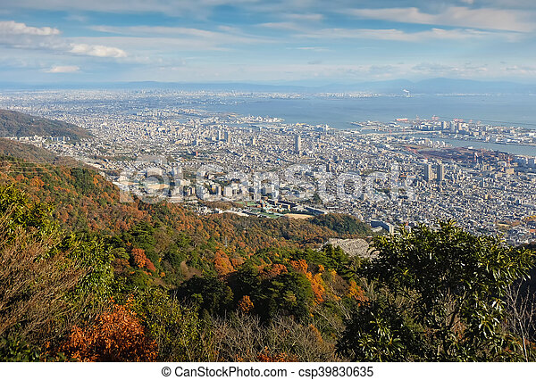 """View of several Japanese cities in the Kansai region from Mt. Maya. The view is designated a """"Ten Million Dollar Night View."""" - csp39830635"""