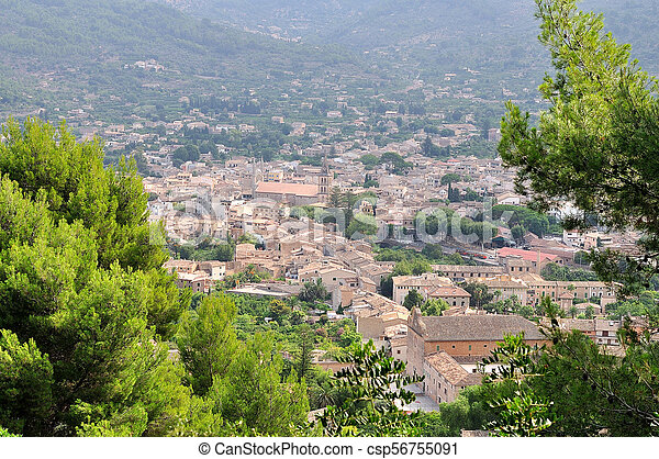 View of Soller panorama in Mallorca island, Spain. - csp56755091