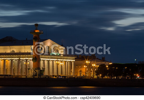 view of St. Petersburg. Vasilyevsky Island in Night - csp42409690