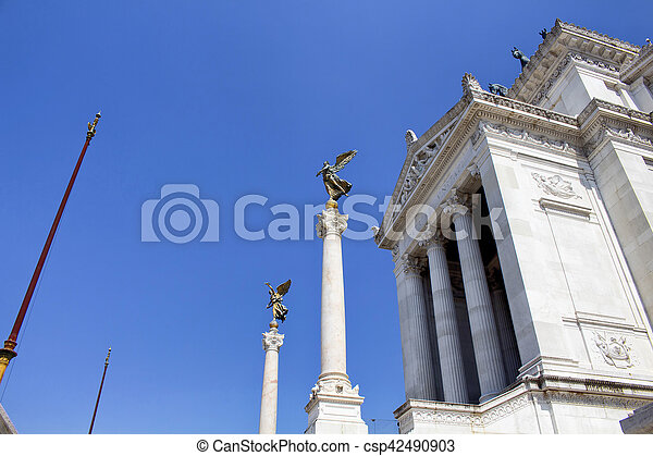 View of statues at Altar of the Fatherland in Rome. Grand marble, classical temple honoring Italy's first king & First World War soldiers. - csp42490903