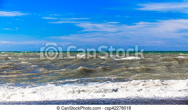 View of storm seascape. Sea background. Waves. waves crashing on shore - csp42278018