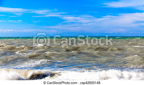 View of storm seascape. Sea background. Waves. waves crashing on shore - csp42600148