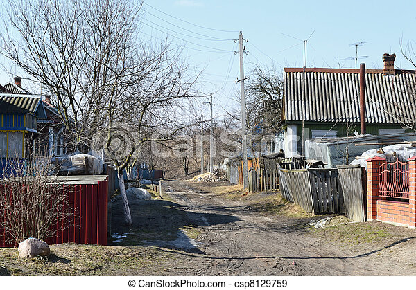 View of street in David-town on a sunny spring day - csp8129759