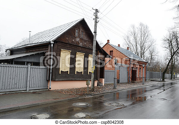 View of street in Vitebsk on a cloudy spring day - csp8042308