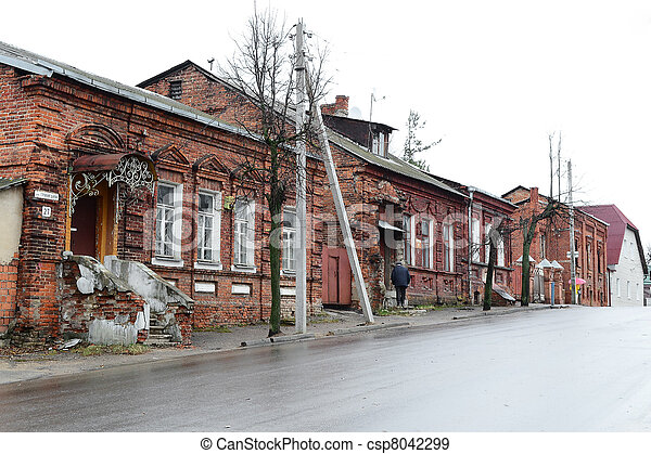 View of street in Vitebsk on a cloudy spring day - csp8042299