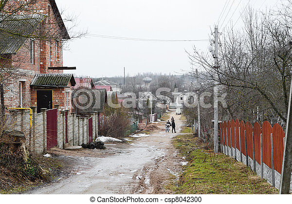 View of street in Vitebsk on a cloudy spring day - csp8042300