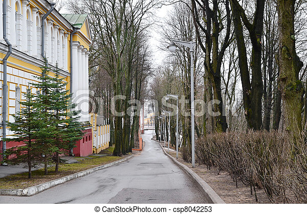 View of street in Vitebsk on a cloudy spring day - csp8042253