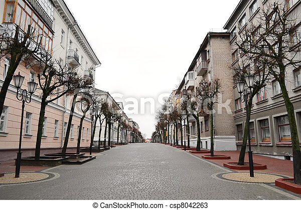 View of street in Vitebsk on a cloudy spring day - csp8042263