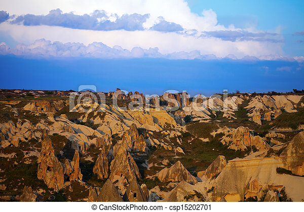 View of sunset Cappadocia valley - csp15202701