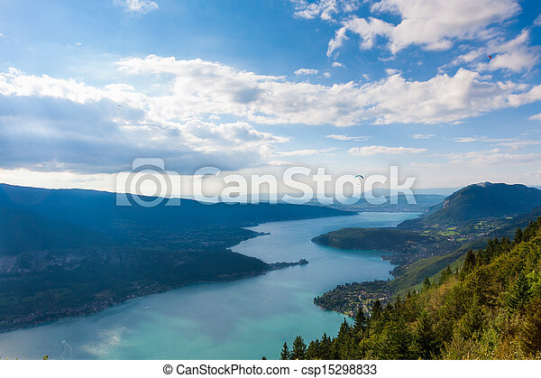 View of the Annecy lake from Col du Forclaz - csp15298833