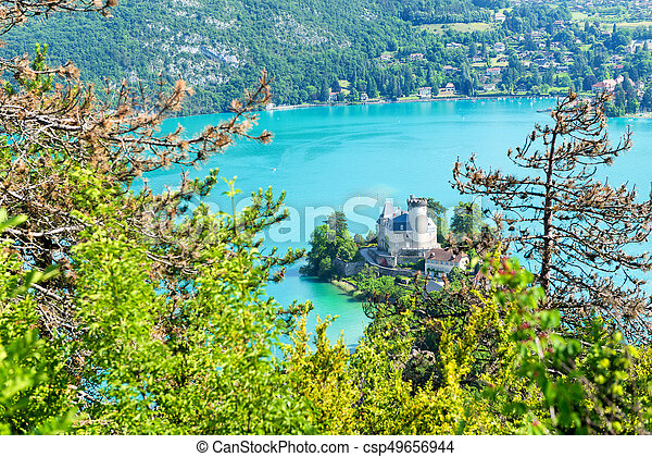 View of the Annecy lake with castle - csp49656944