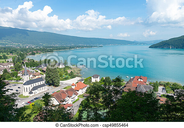 View of the Annecy lake with village of Duingt - csp49855464