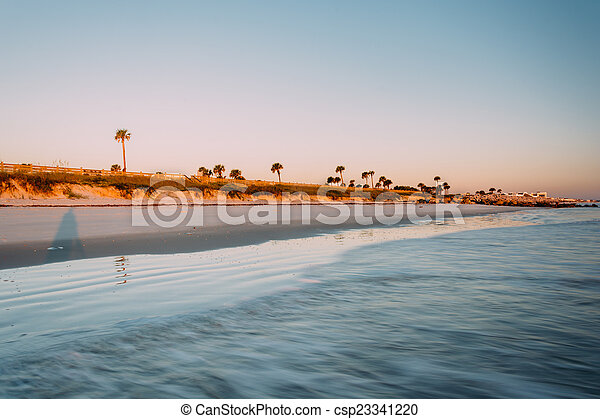 View of the beach in Palm Coast, Florida. - csp23341220