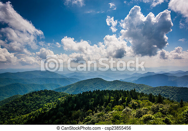 View of the Blue Ridge Mountains seen from Cowee Mountains Overl - csp23855456