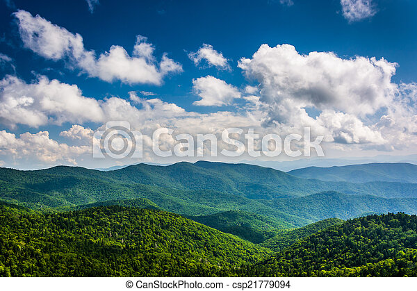 View of the Blue Ridge Mountains seen from Cowee Mountains Overl - csp21779094