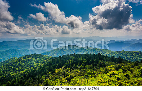 View of the Blue Ridge Mountains seen from Cowee Mountains Overl - csp21647704
