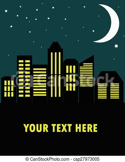 View of the city at night in the flat style, vector illustration. - csp27973005