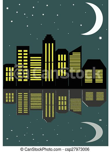 View of the city at night in the flat style, vector illustration. - csp27973006