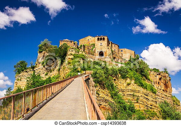 View of the city Bagnoregio on the hill, Tuscany - csp14393638
