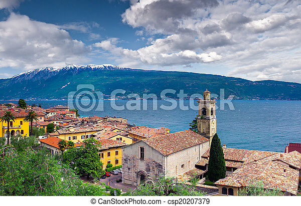 View of the city Gargnano and lake Garda - csp20207379