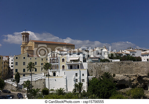 View of the city of Mahon, Menorca, Spain - csp15756555