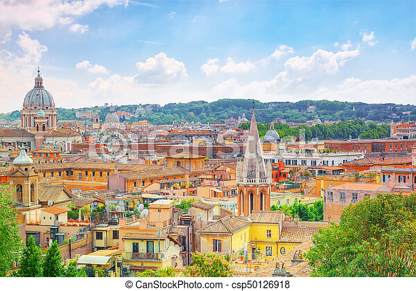 View Of The City Of Rome From Above From The Hill Of Terrazza Del Pincio Italy