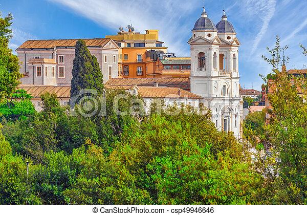 View Of The City Of Rome From Above From The Hill Of Terrazza Del Pincio Trinita Dei Monti Italy