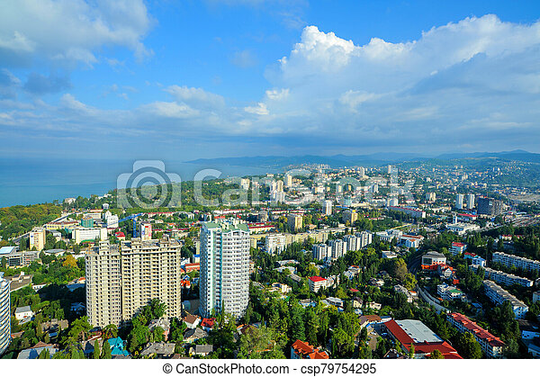 View of the city of Sochi and Black sea - csp79754295