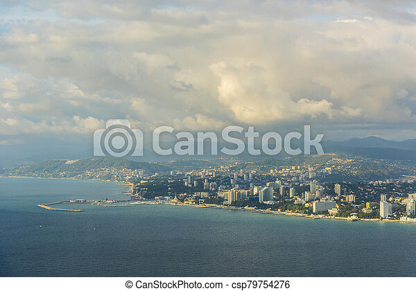 View of the city of Sochi from the sea - csp79754276