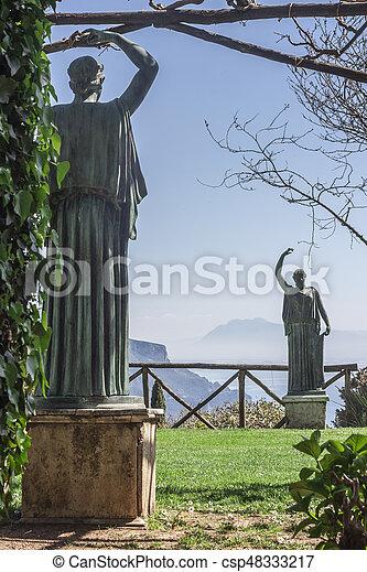 View of the garden of Villa Cimbrone, Amalfi Coast, Italy, Europe - csp48333217