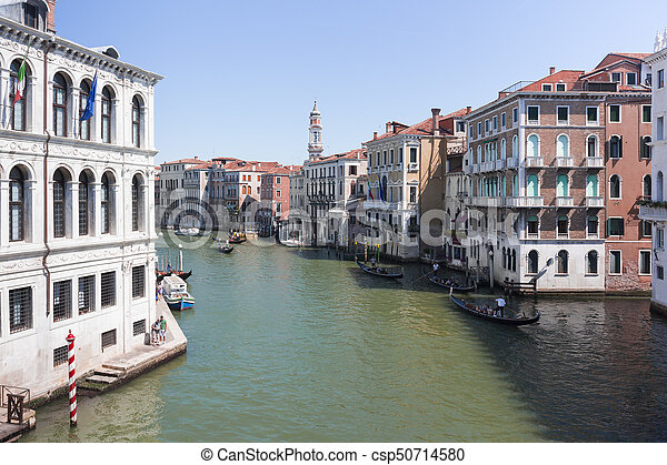 View of the Grand Canal in Venice from the Rialto Bridge - csp50714580