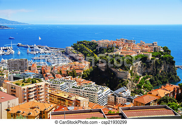 View of the harbor and Prince's Palace of Monaco - csp21930299