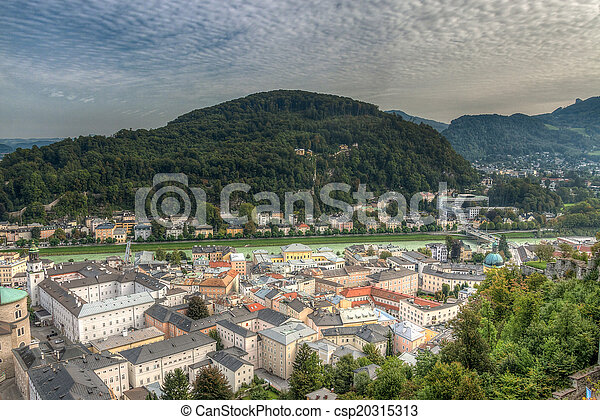 view of the historic city of Salzburg, Salzburger Land, Austria - csp20315313